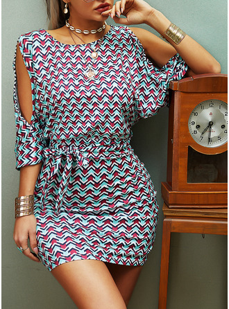 Print Bodycon 1/2 Sleeves Cold Shoulder Sleeve Mini Casual Elegant Dresses