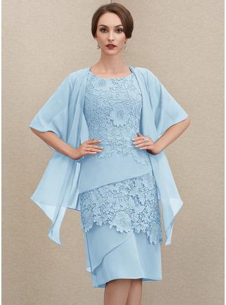 Платье-чехол Круглый Длина до колен шифон Кружева Платье Для Матери Невесты