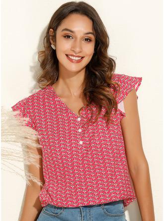 Print Cap Sleeve Polyester V Neck T-shirt Blouses