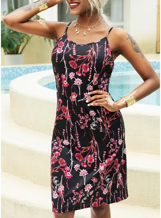 フローラル 印刷 Aラインワンピース ノースリーブ ミニ カジュアル タイプ ファッションドレス