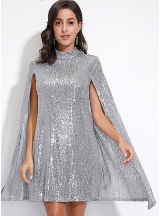 flitry Šaty Shift Dlouhé rukávy Rukáv s rozparkem Midi Party Elegantní Tunika Módní šaty