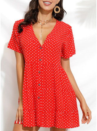 PolkaDot Shift Short Sleeves Mini Casual Tunic Dresses