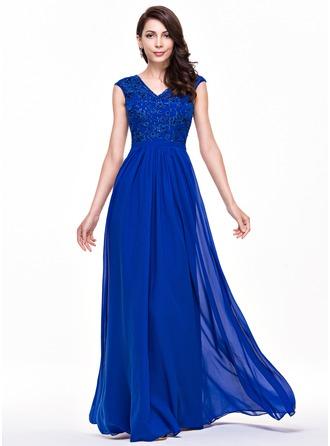 A-Line/Princess V-neck Floor-Length Chiffon Lace Evening Dress With Beading Sequins