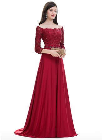 A-Line/Princess Off-the-Shoulder Sweep Train Jersey Prom Dress With Beading Sequins