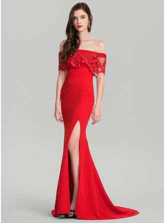 Trumpet/Mermaid Off-the-Shoulder Sweep Train Jersey Prom Dress