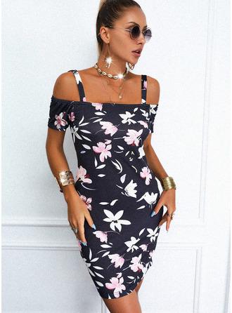 Květiny Tisk Pouzdrové Krátké rukávy Mini Neformální Módní šaty