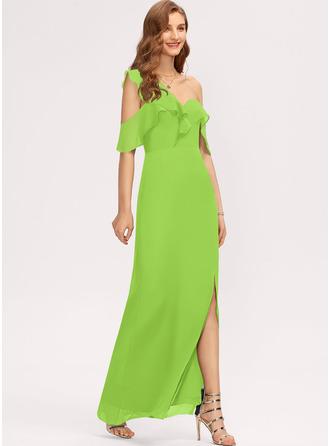 Sheath/Column One-Shoulder Floor-Length Chiffon Bridesmaid Dress With Split Front Cascading Ruffles