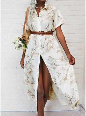 Print A-line Short Sleeves Maxi Casual Shirt Skater Dresses