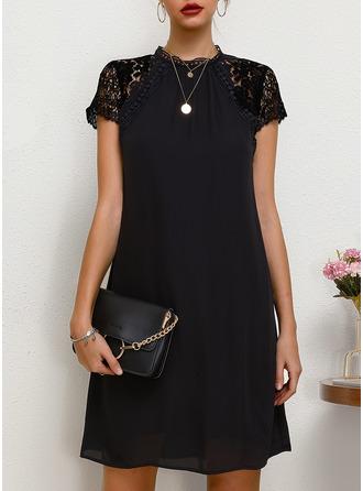 Kulatý Výstřih Šifón Módní šaty