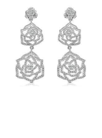 Sonar Naisten Classic 925 sterlinghopea hopea Kuutiometriä zirkonia Korvakoruja Hänen/Ystävät/Bride