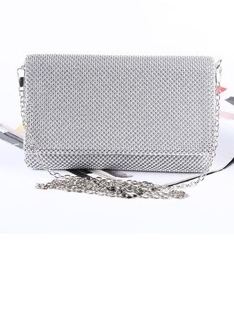 Elegante Satén/de aluminio Bolso Claqué/Minaudiere