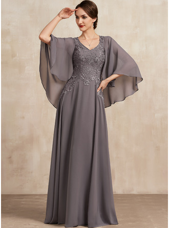 A-Line V-neck Floor-Length Chiffon Lace Mother of the Bride Dress With Beading Sequins
