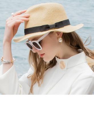 Dames Glamour/Simple Raphia paille Chapeaux de plage / soleil