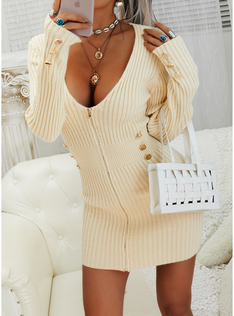 Solid Long Sleeves Casual Long Tight Sweater Dress Dresses