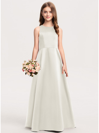 A-Linie U-Ausschnitt Bodenlang Satin Kleid für junge Brautjungfern