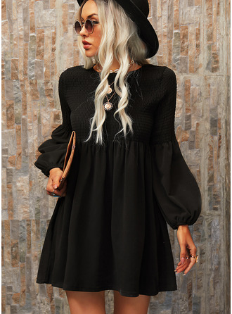 Sólido Vestidos soltos Manga Comprida Mini Vestido Preto Casual Túnica Vestidos na Moda
