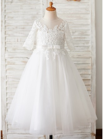 Ball-Gown/Princess Tea-length Flower Girl Dress - Tulle 1/2 Sleeves Scoop Neck With Lace