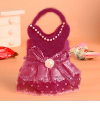 Baby Dress Design Handbag shaped Favor Bags With Bow (Set of 12)