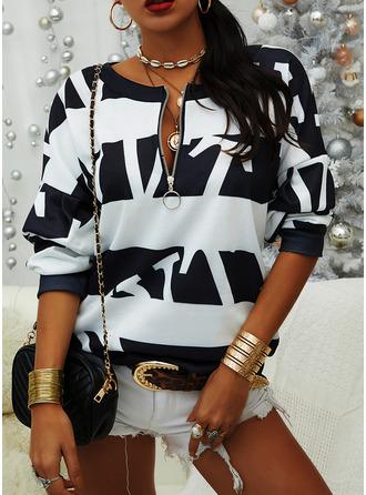 Print Striped Figure V-Neck Long Sleeves Sweatshirt