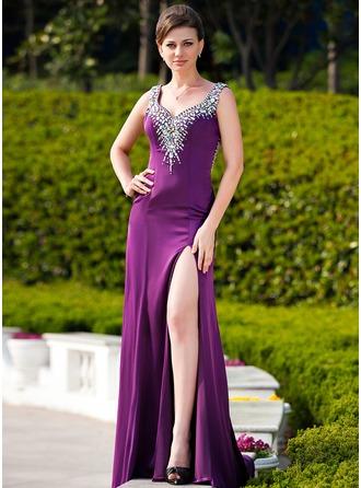 Vestidos princesa/ Formato A Amada Sweep/Brush trem Charmeuse Vestido de festa com Beading Frente aberta