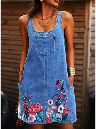 Floral Print Shift Sleeveless Mini Denim Casual Tank Dresses