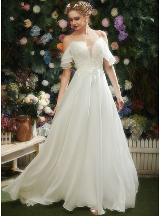 Трапеция возлюбленная Церемониальный шлейф Свадебные Платье с Рябь развальцовка блестки