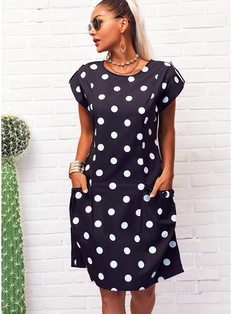 水玉模様 シフトドレス 半袖 ミディ カジュアル Tシャツ ファッションドレス