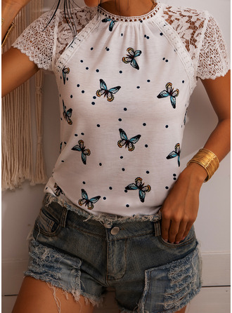 Lace Patchwork PolkaDot Print Round Neck Short Sleeves Casual