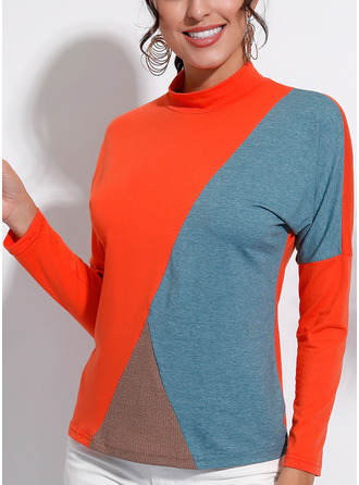 Color Block Stand collar Long Sleeves Casual T-shirt