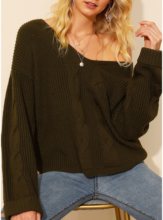 V-Neck Casual Solid Cable-knit Chunky knit Sweaters