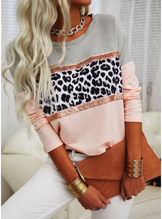 Leopard Color Block Sequins Round Neck Long Sleeves Casual T-shirt