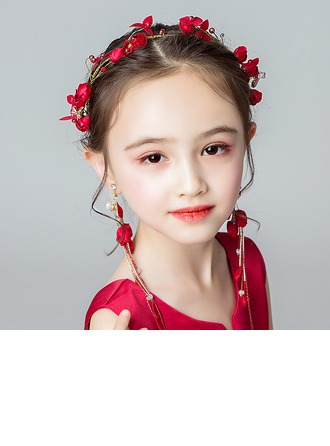 Alloy/Crystal With Flower Headbands/Earclip