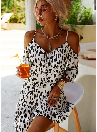 Leopard Shift 3/4 Sleeves Cold Shoulder Sleeve Mini Casual Vacation Tunic Dresses