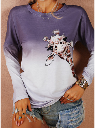 Animal Print Round Neck Long Sleeves Casual T-shirt (1003251265)