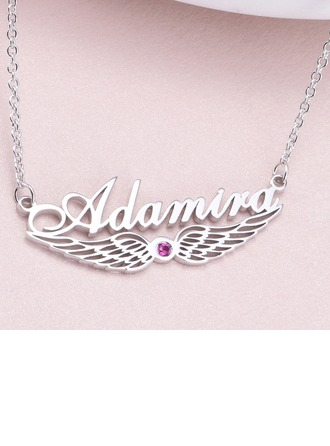 Personalized Ladies' Exquisite 925 Sterling Silver Rhinestone Name Necklaces Necklaces For Bride/For Bridesmaid/For Mother/For Friends/For Couple