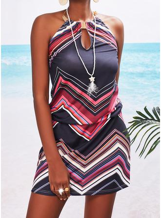 Print Striped Sheath Sleeveless Mini Vacation Dresses