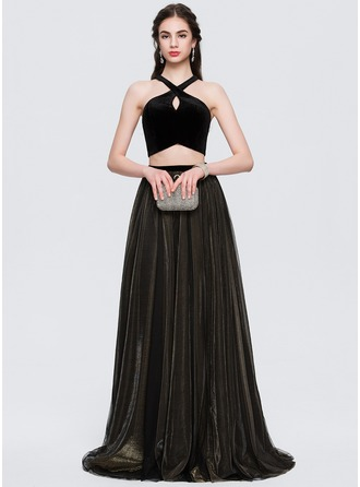 A-Line/Princess Scoop Neck Sweep Train Tulle Prom Dress