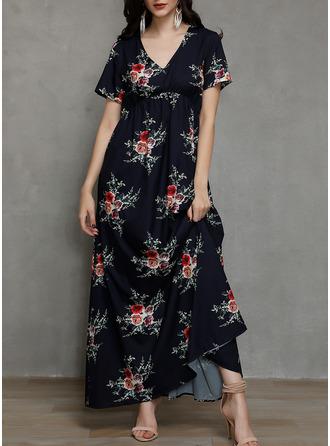 Kwiatowy Nadruk Sukienka Trapezowa Krótkie rękawy Maxi Nieformalny Elegancki Modne Suknie
