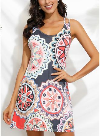 Floral Print Shift Sleeveless Midi Boho Casual Vacation Tank Dresses