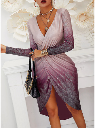 Sequins Sheath Long Sleeves Midi Party Elegant Dresses