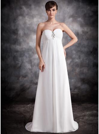 Empire Sweetheart Sweep Train Chiffon Evening Dress With Ruffle Beading