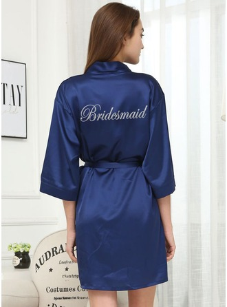Non-personalized Charmeuse Bridesmaid Glitter Print Robes
