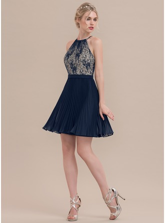 A-Line/Princess Scoop Neck Short/Mini Chiffon Cocktail Dress With Pleated