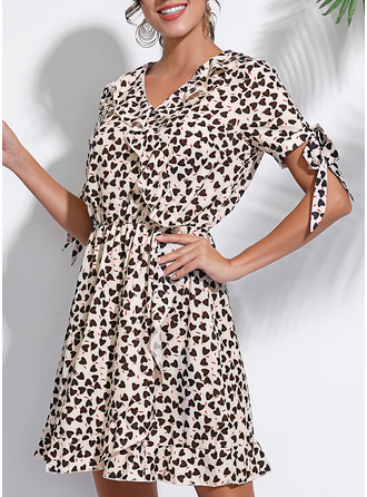Print A-line Short Sleeves Mini Casual Wrap Dresses