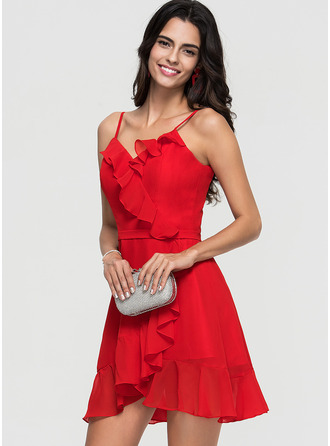 V-Neck Red Chiffon Chiffon Dresses