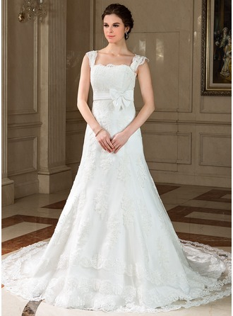 A-Line/Princess Square Neckline Chapel Train Tulle Wedding Dress With Lace Bow(s)