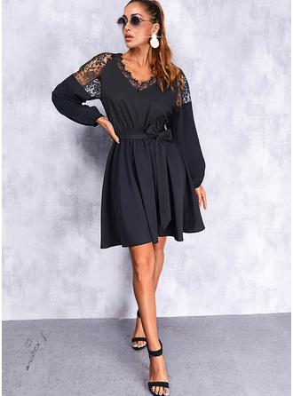 Solide A-lijn-jurk Lange Mouwen Mini Zwart jurkje Casual schaatser ()