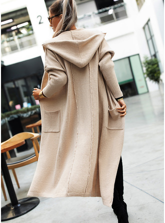 Hooded Casual Long Solid Pocket Sweaters