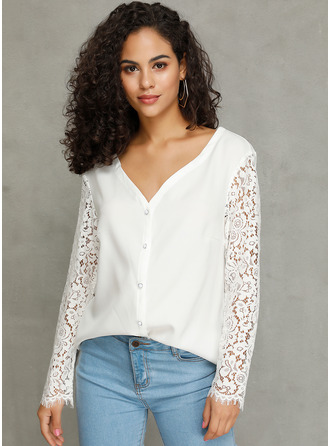 Lace Solid Long Sleeves Polyester V Neck Knit Blouses