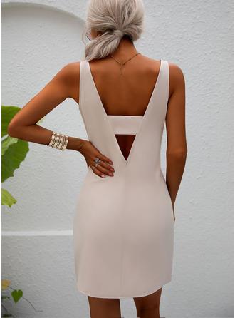 Solid Sheath Sleeveless Mini Party Sexy Dresses